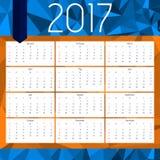 Простой календарь 2017 Абстрактный календарь на 2017 bluets Стоковое Фото