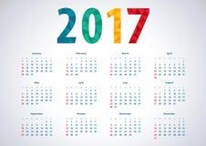 Простой календарь 2017 Стоковые Фотографии RF