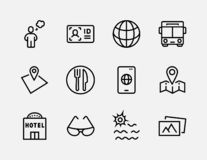 Простой комплект линии значков вектора перемещения родственной Содержит такие значки как багаж, паспорт, солнечные очки и больше  бесплатная иллюстрация