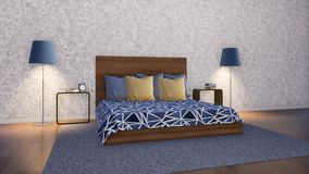 Простой минималистский дизайн интерьера 3D спальни бесплатная иллюстрация