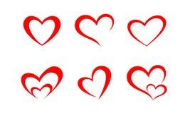 Простой минималистский силуэт влюбленности сердец Стоковая Фотография