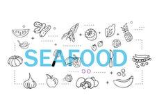 Простой набор линии значков вектора продукта моря родственной Содержит такие значки как креветка, устрица, кальмар, краб и больше иллюстрация штока