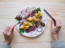 Простой обед страны с сельдями и икрой на плите Стоковое фото RF