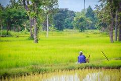 Простой образ жизни сельского тайского крестьянина, фермеров обрабатывает землю в t Стоковая Фотография RF