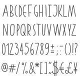 Простой письма и номера нарисованные рукой серые Стоковое Фото