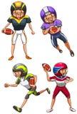 Простой покрашенный эскиз американских футболистов Стоковое фото RF