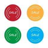 Простой плоский комплект стикера значка продажи Стоковая Фотография RF