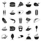 Простой черный комплект значка еды стиля Стоковое фото RF