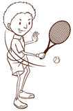 Простой эскиз мальчика играя теннис Стоковые Фотографии RF