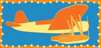 Простой яркий оранжевый самолет моря иллюстрация вектора