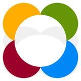 Простой multicolor элемент с разделенными кругами Абстрактная минимальная бесплатная иллюстрация