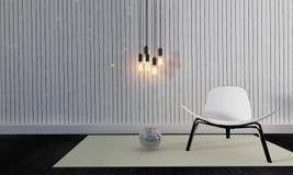 Просторная квартира и простая живущая комната с re стула и стены background-3d Стоковое Изображение RF