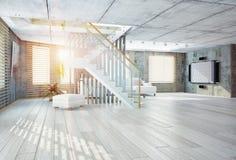 просторная квартира конструкции нутряная самомоднейшая Стоковая Фотография RF