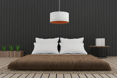 Просторная квартира современной спальни внутренняя в 3D представляет изображение Стоковое Фото