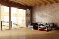 Просторная квартира с brickwall и чернотой Стоковое фото RF