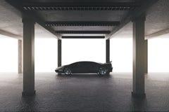 Просторный гараж с автомобилем иллюстрация штока
