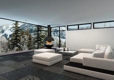 Просторный роскошный интерьер живущей комнаты в зиме бесплатная иллюстрация