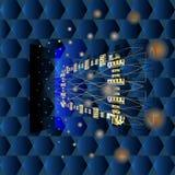 Пространственная абстракция для настольного компьютера с рамкой золота Стоковое Изображение