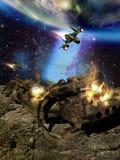 Пространственное нападение космического корабля иллюстрация вектора