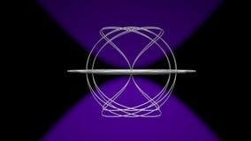 Пространственное сферически тело, конструированное от серебряного провода, вращая о горизонтальной оси и делая kaleidoscopic орна иллюстрация вектора
