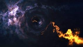 Пространственно-временная погнутость, летела до черной дыры, горизонта событий иллюстрация штока