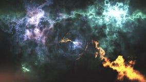 Пространственно-временная погнутость, полет в черную дыру, размечает абстрактный состав иллюстрация вектора