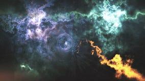 Пространственно-временная погнутость, полет в черную дыру, размечает абстрактный состав иллюстрация штока