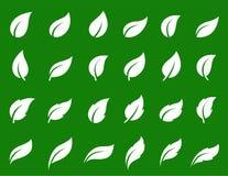 Простые белые изолированные значки лист установили на зеленый цвет бесплатная иллюстрация