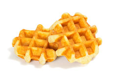 Простые бельгийские Waffles на белой предпосылке Стоковые Изображения