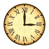 Простые винтажные часы с римскими письмами как номера на Clockface иллюстрация штока
