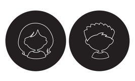 Простые воплощения возглавляют девушку и мальчика с белой линией на черном круге Стоковое фото RF