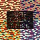 Простые геометрические картины треугольников в ретро комплекте стиля Стоковая Фотография