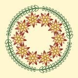 Простые геометрические флористические орнаменты, круглые картины Стоковое фото RF
