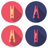Простые зажимки для белья значка Стоковая Фотография RF