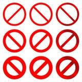 Простые, запрещенные знаки/значки 6 изменений Красные версии квартиры и градиента иллюстрация вектора