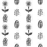 Простые листья и цветки в картине scandinavial стиля безшовной Стоковое фото RF