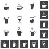Простые пить и комплект значка напитков Стоковые Фотографии RF