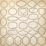 Простые рамки с сморщенной бумажной текстурой Стоковое Фото