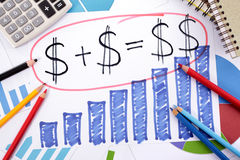 Простые сбережения или формула выхода на пенсию Стоковое Изображение RF