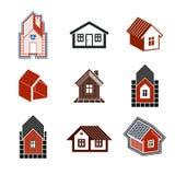Простые собрание коттеджей, недвижимость и тема конструкции Стоковые Фотографии RF