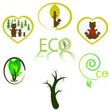 Простые установленные значки природы Значок всеобщей природы, который нужно использовать для сети бесплатная иллюстрация