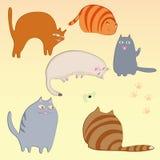Простые установленные коты Иллюстрация вектора