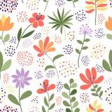 Простые цветок doodle и картина точек также вектор иллюстрации притяжки corel Элегантный шаблон для печатей моды Стоковая Фотография RF