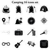 16 простыми располагающся лагерем установленными значками Стоковая Фотография