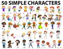50 простых характеров молодых и старых Стоковое Изображение RF
