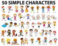 50 простых характеров молодых и старых бесплатная иллюстрация