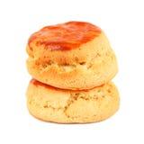 2 простых scones для послеполуденного чая на белизне Стоковые Фотографии RF