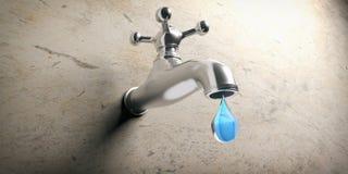 Протекая концепция Metal faucet и падение воды на бежевой предпосылке иллюстрация 3d бесплатная иллюстрация