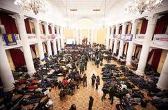 Протестующие отдыхают на утре Стоковая Фотография