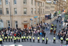 протестующие полиций баррикады Стоковое Фото